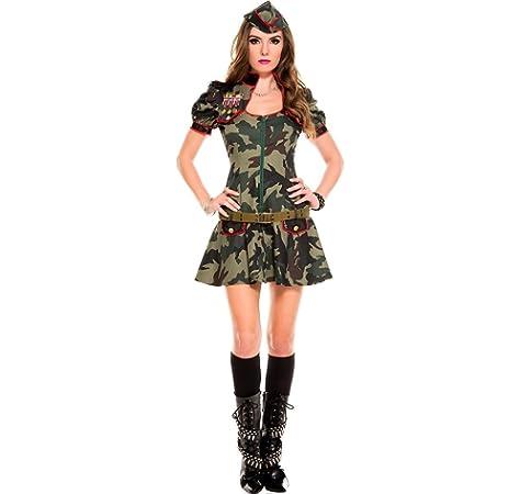 Smiffys-28864X1 Disfraz de Mujer Soldado Sexy, Camuflaje, con Mono ...