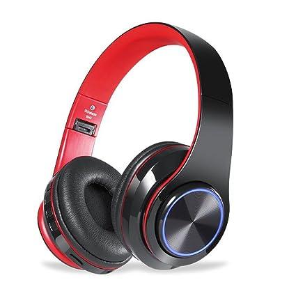 QLtech Auriculares de Diadema Cerrados, Cascos inalámbricos Bluetooth Plegable con Micrófono y Luces Led para