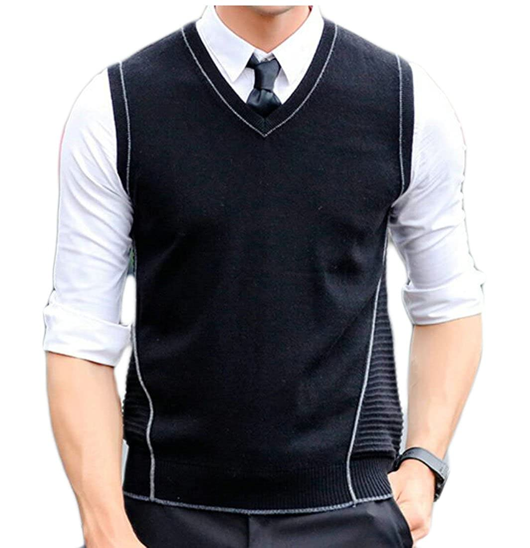 GAGA Men Casual Slim Fit Sleeveless Solid Color Knitted Vest Waistcoat Sweater
