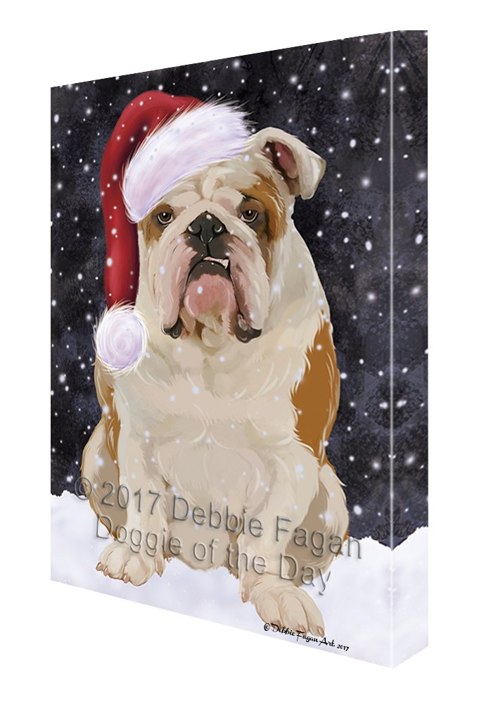 Let it Snow Christmas Holiday English Bulldog Dog Wearing Santa Hat Canvas Wall Art D227 (16x20)