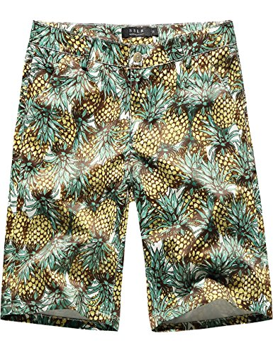 SSLR Men's Pineapples Stretch Flat Front Casual Aloha Hawaiian Shorts (40, Green) (Side Zip Shorts Stretch)