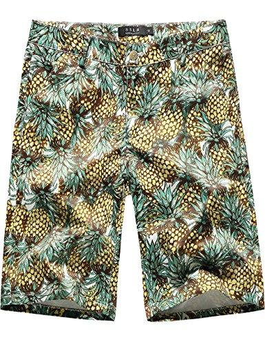SSLR Men's Pineapples Stretch Flat Front Casual Aloha Hawaiian Shorts (40, Green) (Shorts Zip Side Stretch)