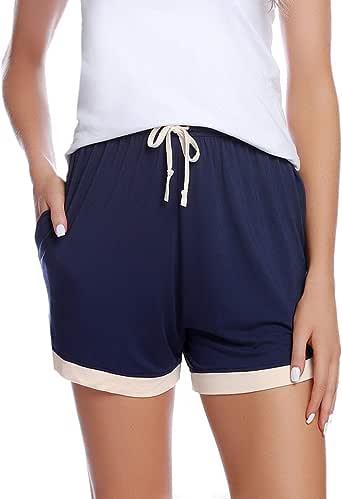 Abollria Pantalones Cortos de Pijama para Mujer Cintura Elástica Ajustable y Bolsillo Verano Shorts