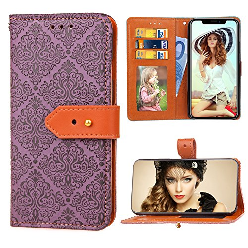 iPhone Xs Case, iPhone X Wallet Case, FLYEE Mural Flower Embossed Flip Case [Kickstand] Multi-Position Buckle Design Magnetic Wallet Leather for Apple iPhoneX Purple