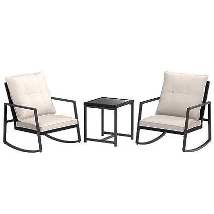 Pleasant Amazonbasics 3 Piece Pe Rattan Wicker Rocking Chair Outdoor Patio Set Machost Co Dining Chair Design Ideas Machostcouk