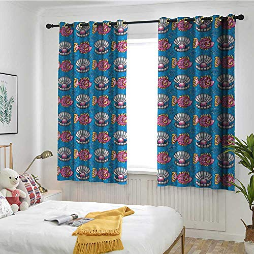 ndow Curtains Bubbles Backdrop with Scallops and Swimming Fishes Horizontal Design Tropic Cartoon Insulated with Grommet Curtains for Bedroom W 72