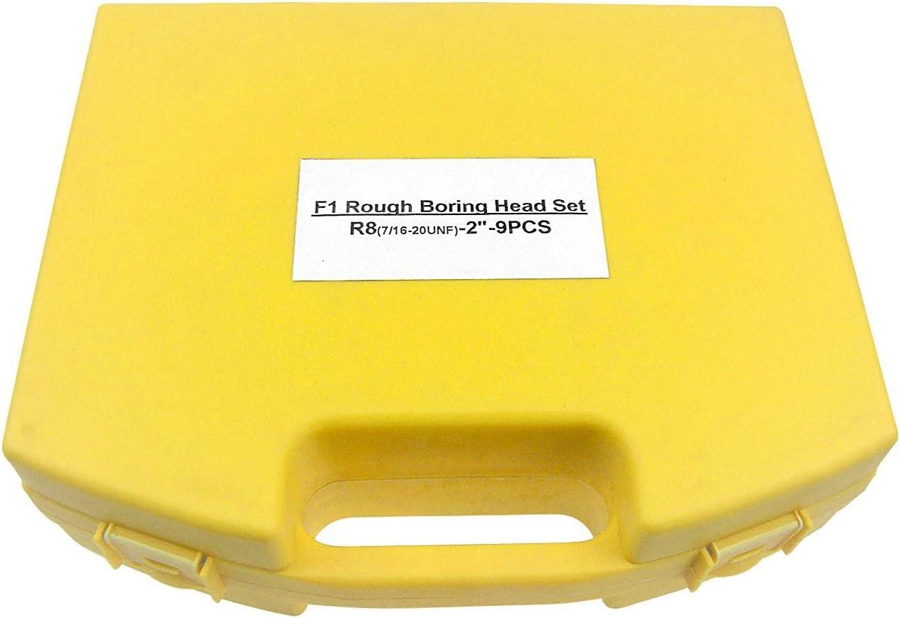 Vaorwne 2 Inch Boring Head SET Carbide Boring Bars MT2 M10 F1-12 50Mm Boring Head with 9Pcs 12Mm Boring Bars Milling Machine Accessories