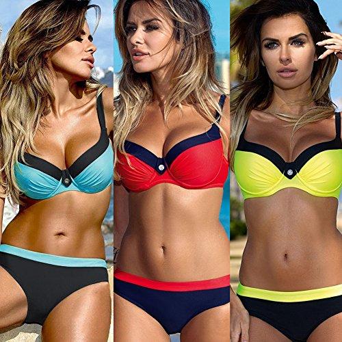 Romacci Damen Farbblock Bikini Set Backless Push up Gepolsterte Bügel Bandage Badeanzug Bademode Badeanzug Gelb EfmIXgSdw