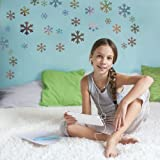 Supertogether Sparkly Silver Snow Flake Wall Stickers - Frozen Bedroom Theme Decals (Pack of 46)