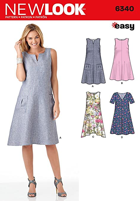 New Look 6340 Size A Misses\' Easy Dresses Sewing Pattern, Multi ...