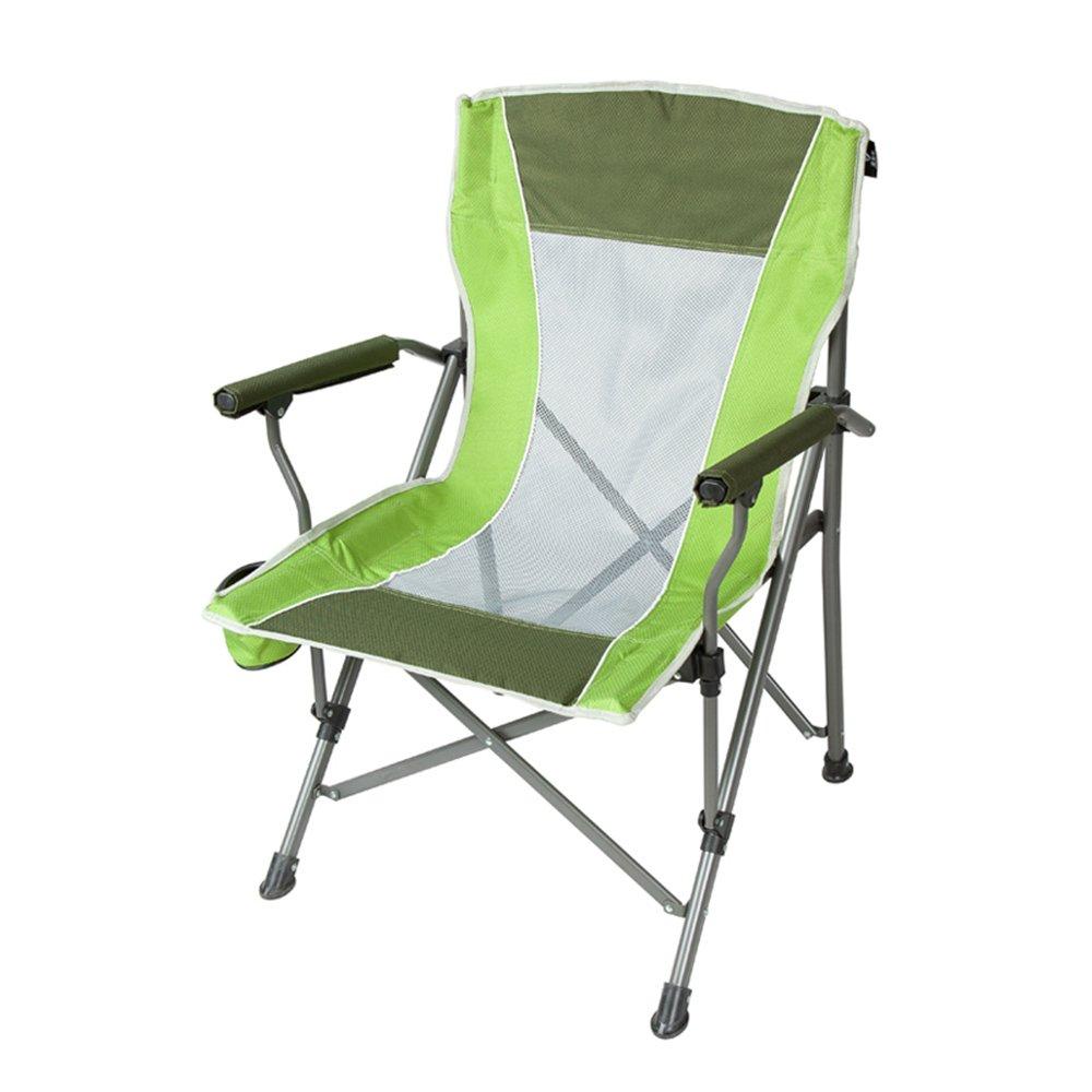 Outdoor folding chair YNN Breathable Klappstuhl Mesh Stuhl Freizeit Stuhl Angeln Stuhl Strand Stuhl Feste Armlehne (Farbe : Grün)