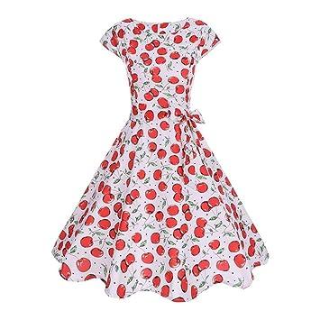 c811c4613 Yingsssq Vestido de Verano para Mujer Vestido Retro de Hepburn Vestidos de  Fiesta con Estampado Floral