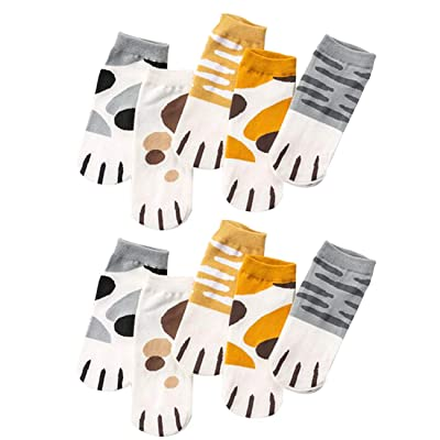 10 Pairs Cute Cat Paw Socks Funny Cat Lover Gifts Novelty Animal Paw Socks for Women Girls Kids (M, A set of 10 pairs) at Amazon Women's Clothing store
