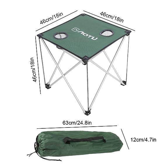 Dilwe Mesa de Camping Plegabletabla Oxford con Dos Portavasos para Picnic (Verde): Amazon.es: Deportes y aire libre