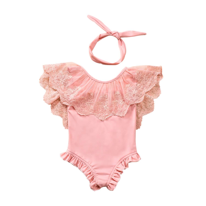 Baby Girl Hawaiian Ruffles Bikini One-Piece Swimsuit Beach Bathing Suit Floral Swimwear+Headband 2 Pcs Set