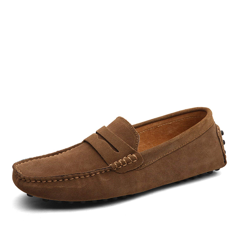 Men Casual Shoes Fashion Men Shoes Genuine Leather Men Loafers Moccasins Slip On Mens Flats Male Driving Shoes,03 Black,8