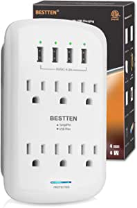 BESTTEN USB Wall Outlet Surge Protector (1200 Joules), 6 Grounded Outlets with 4 USB Charging Ports (5V/4.2A) and Top Phone Holder, ETL Listed, White