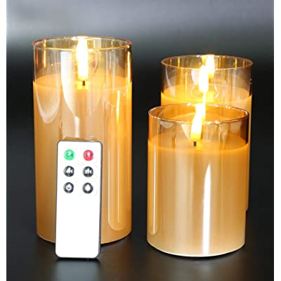 "Eywamage Glass Flameless Candles with Remote Flickering Real Wax Wick LED Pillar Candles Battery Operated 3 Pack D 3"" H 4"" 5"" 6"" Gold: Home Improvement"