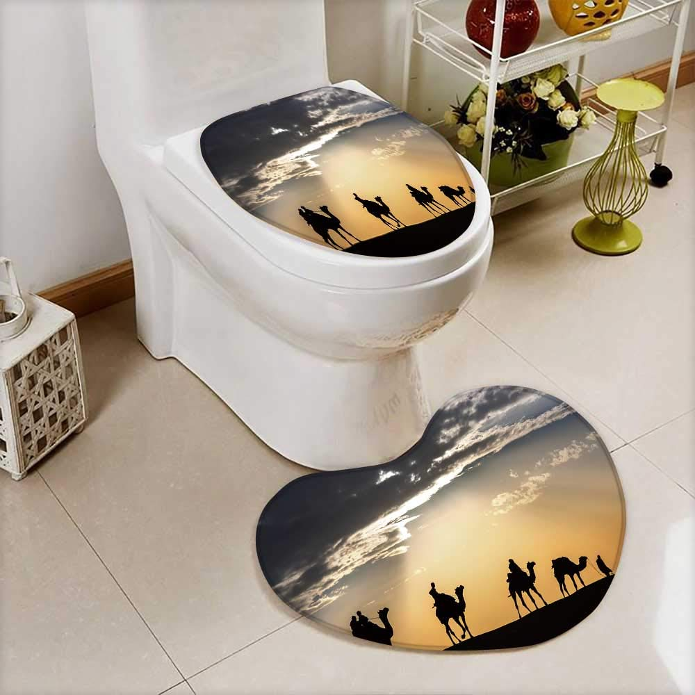 Analisahome Bathroom Non-Slip Heart shaped foot pad Set Camel caravan silhouette through the sand dunes lead nose at Thar Desert India Personalized Durable