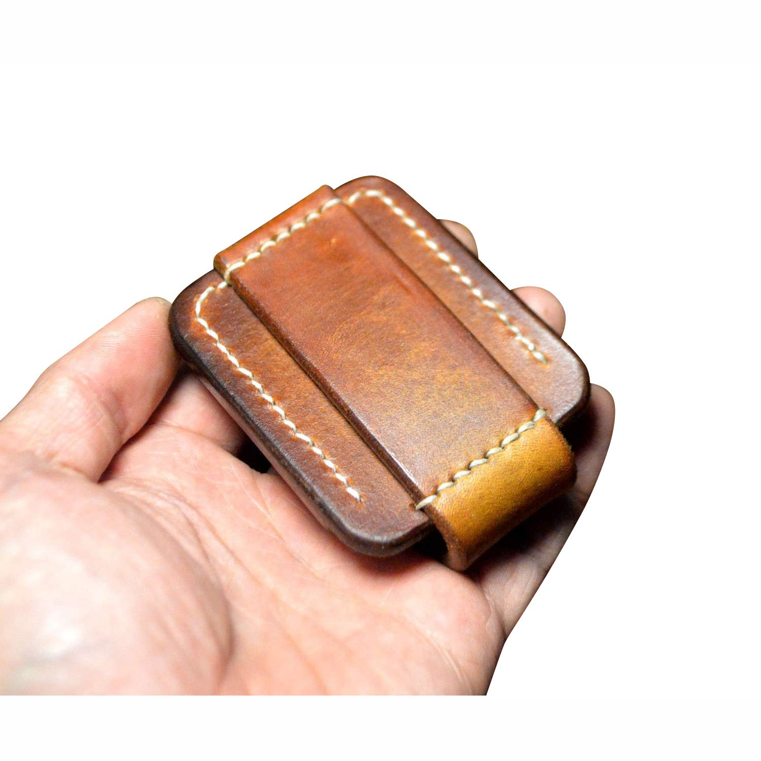 Hand Made Leather Lighter Protective Sleeve case Genuine Full Grain Cowhide Handcrafted Pouches Holder (Brown) by BAVER (Image #3)