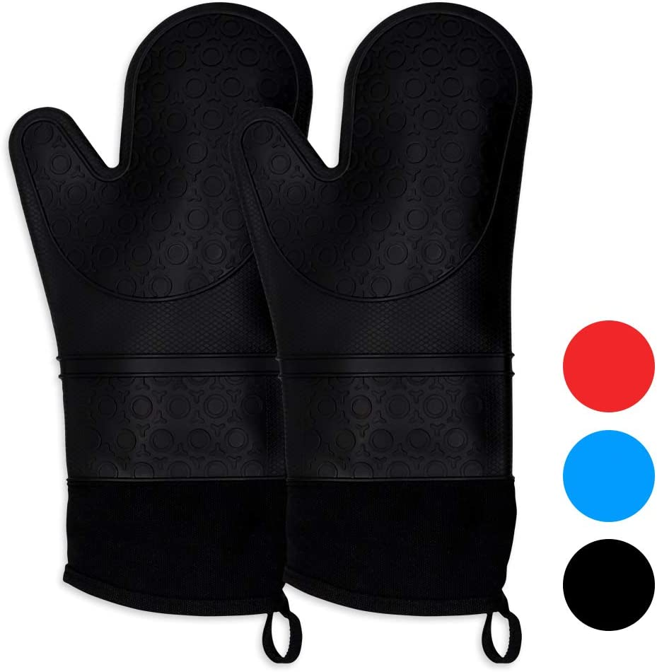 Keyser Silicone Oven Mitts,1 Pair of Extra Long Professional Heat Resistant Pot Holder Baking Gloves Food Safe,Baking and Outdoor BBQ(Black)