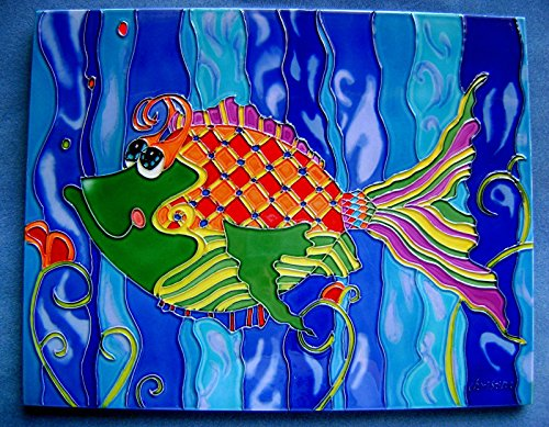 Tile Craft fish ceramic art tile 11 x 14 inches with back and hooks for hanging