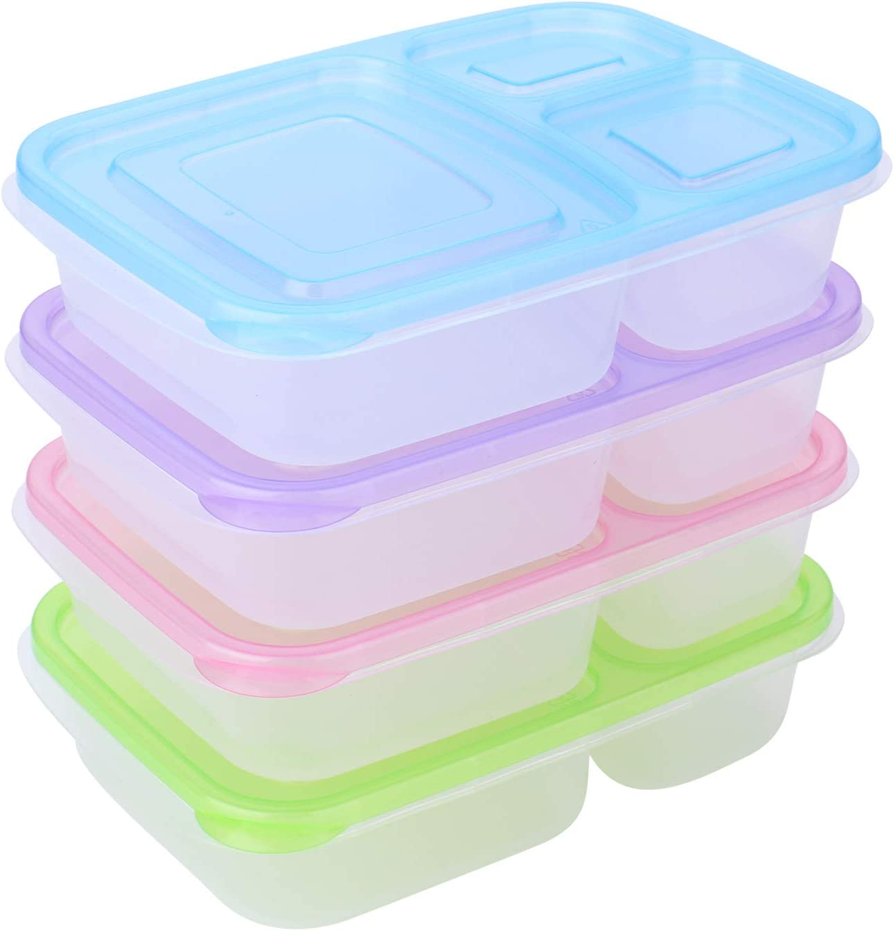 Meal Prep Containers Bento Lunch Box   4 Pack   Reusable 3-Compartment Plastic Divided Food Storage Container Boxes for Kids & Adults   Microwave, Dishwasher and Freezer Safe by THETIS Homes