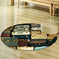 Nalahomeqq Vintage Decor Collection Colorful Vintage Suitcase Antique Leather Decorative Travel Gift Map Nostalgia Polyester Fabric Room Circle carpet Brown Cream Green-Diameter 100cm(40)