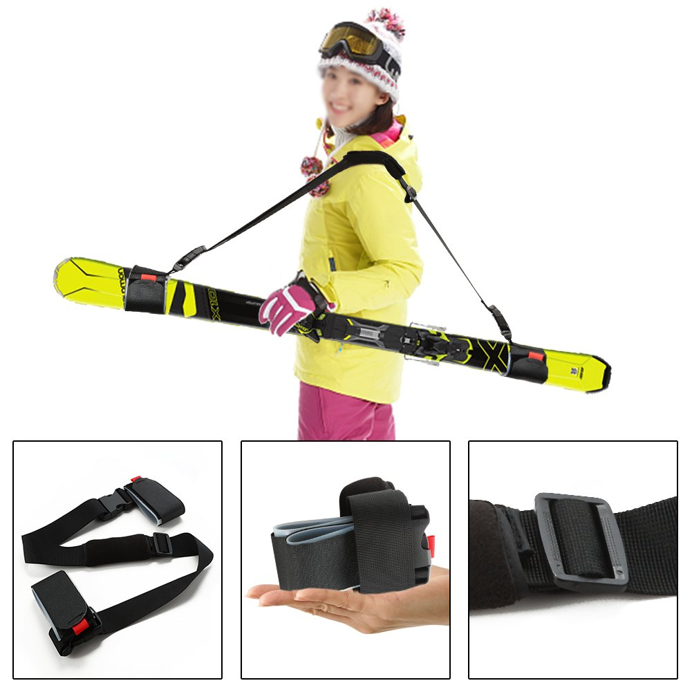 Mounchain Ski and Pole Carry Sling Strap Thick and Strong Ski Shoulder Carrier Sling Straps with Cushioned Magic Sticker Adjustable Ski Accessory for Comfortable & Safety