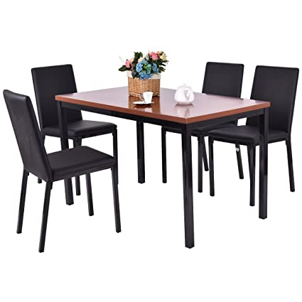 Superb Tangkula 5 PCS Dining Table Set 4 PU Leather Chairs Home Kitchen Breakfast  Furniture