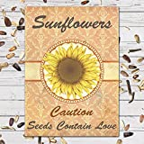 """25 Individual Sunflower Seed Favor Packets (F04) """"Caution, Seeds Contain Love""""Great For Weddings!"""