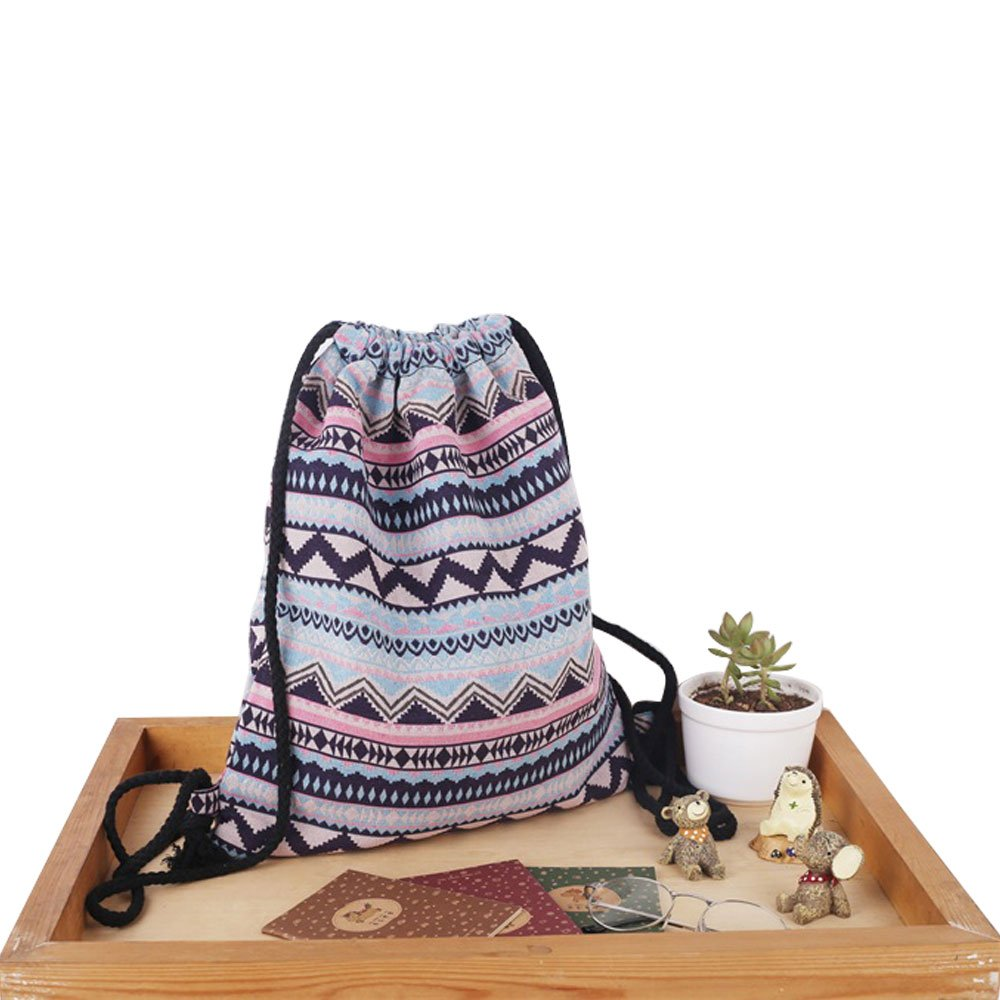 Farway unisex tela sacca etnico Knit Bohemia zaino shopping sacco.