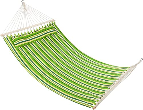 ONCLOUD Double Hammock with Spreader Bar and Detachable Pillow, Heavy Duty Stylish, Portable, Perfect for Indoor Outdoor Camping Patio Deck Yard- Green Strips