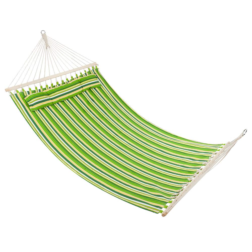 Lovinland Hanging Hammock Stylish Printing Style Hammock Beach Swing Double Beds for Outdoor Camping Travel Green