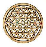 Mandala Flor de la vida en madera pintada a mano