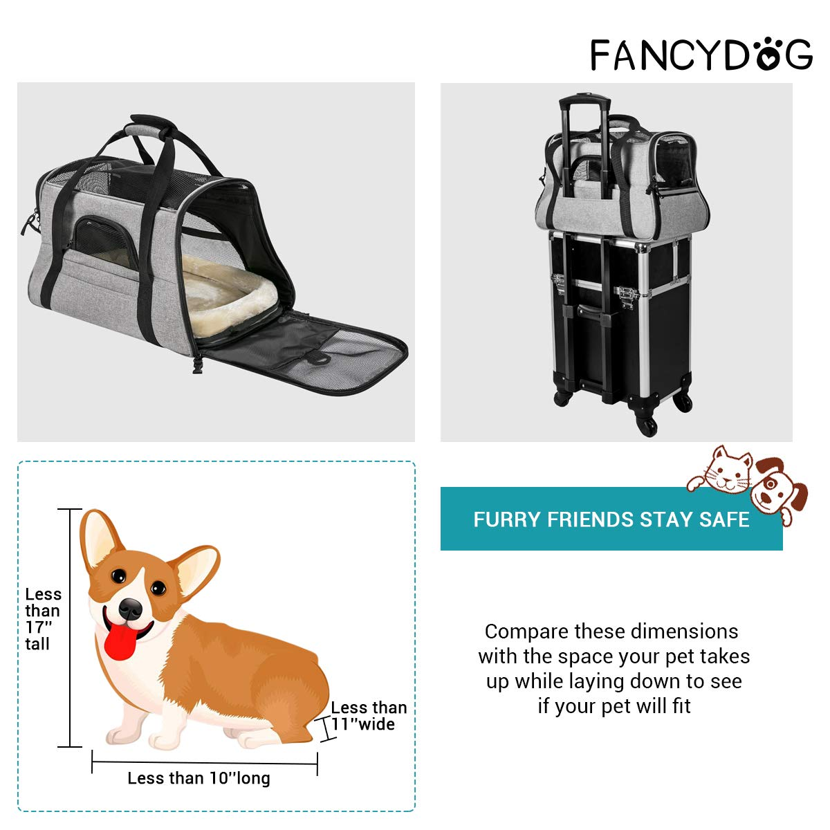 FANCYDOG Airline Approved Pet Carrier Soft Side Portable Pet Travel Bag with Mesh Windows Fleece Padding Under Seat Pet Bags for Small Dogs Cats (Grey)