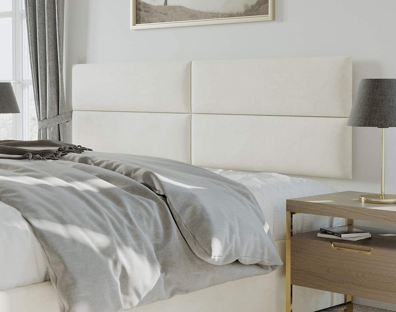 Wall Mounted Panels V/änt Upholstered Headboards Queen Size Suede Grey