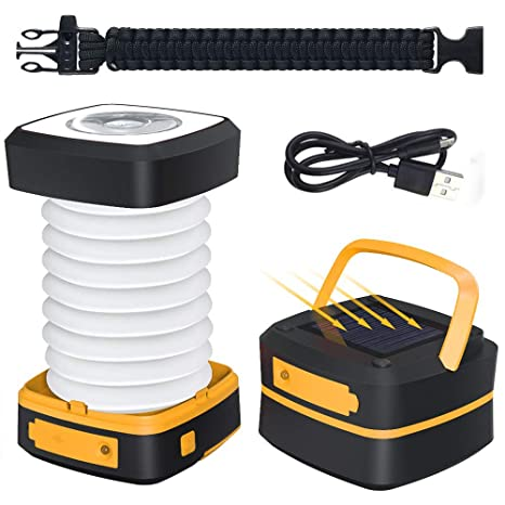 Outdoor Camping Tent Light Solar Powered Collapsible LED Hanging Flashlight Lamp