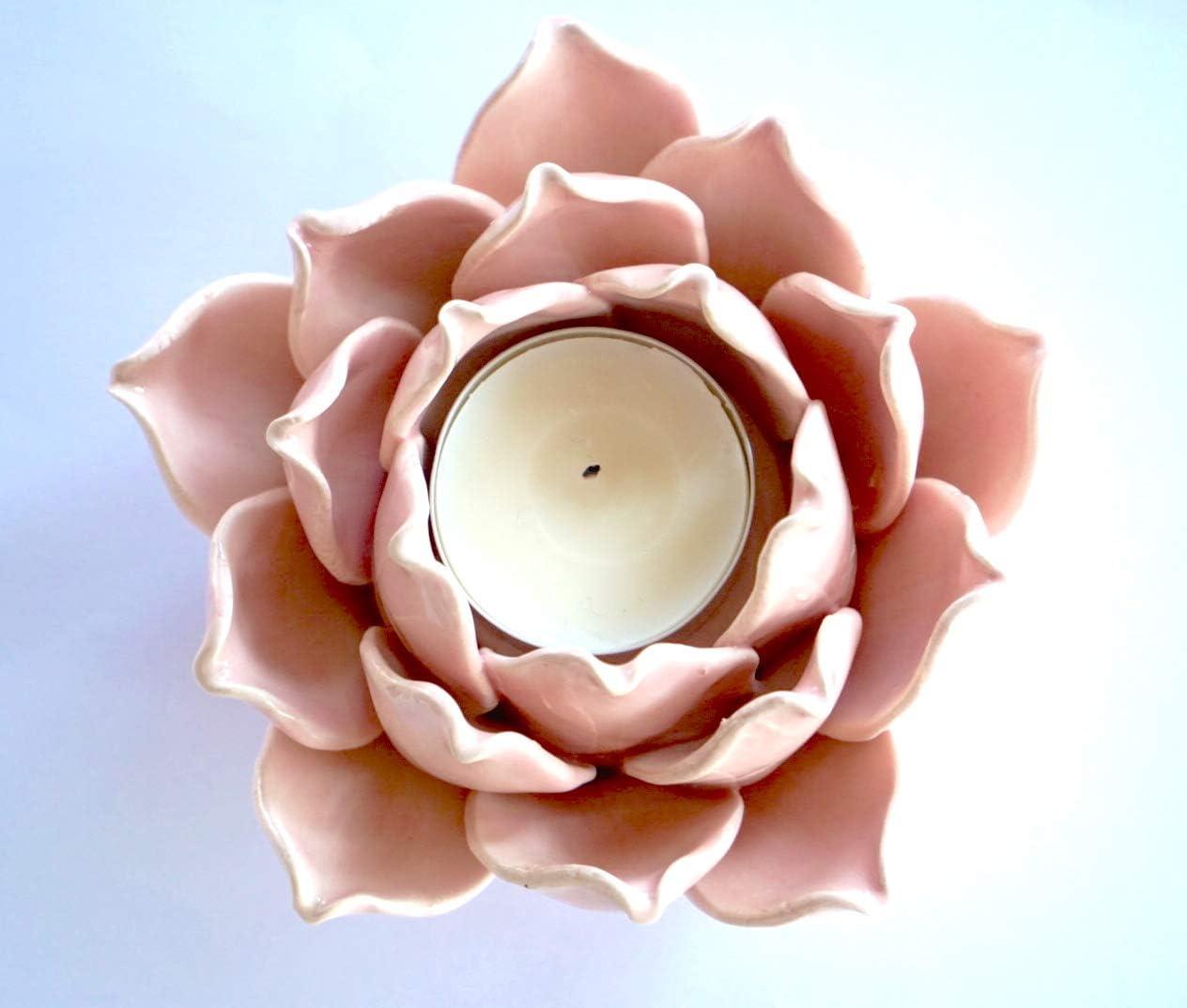 Ceramic Flower Shape Candle Holder Tea Lights Holder Home Table Top Decoration Lotus Pink Home Kitchen