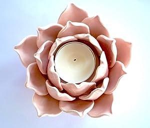 Ceramic Flower Shape Candle Holder Tea Lights Holder Home & Table top Decoration (Lotus Pink)