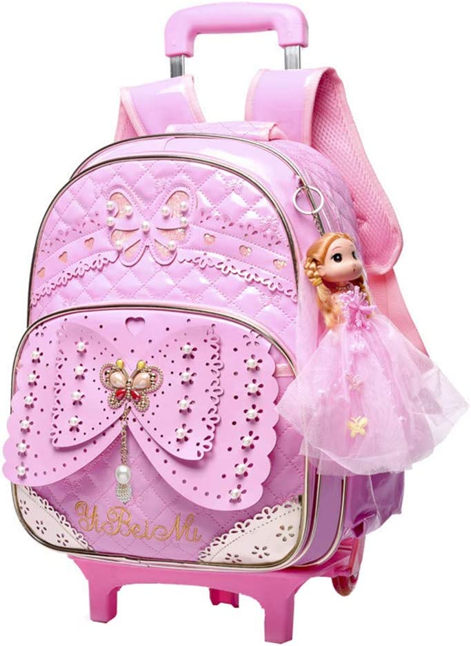 Fanci Butterfly Princess Style 2Pcs Primary Girls Wheeled Backpack Carry On Luggage Elementary Trolley Rolling School Backpack Set with Lunch Bag