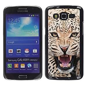 Caucho caso de Shell duro de la cubierta de accesorios de protección BY RAYDREAMMM - Samsung Galaxy Grand 2 SM-G7102 SM-G7105 - Leopard Ferocious Animal Big Cat Roar
