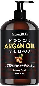 Buena Skin Premium Argan Oil Shampoo - Sulfate Free - Volumizing & Moisturizing, For Men & Women, Curly & Color Treated Hair, Infused with Keratin 16 Oz