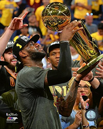 Cleveland Cavaliers LeBron James With The Championship Trohpy. 8x10 Photo Picture From the 2016 NBA Finals (Nba Photo Basketball)