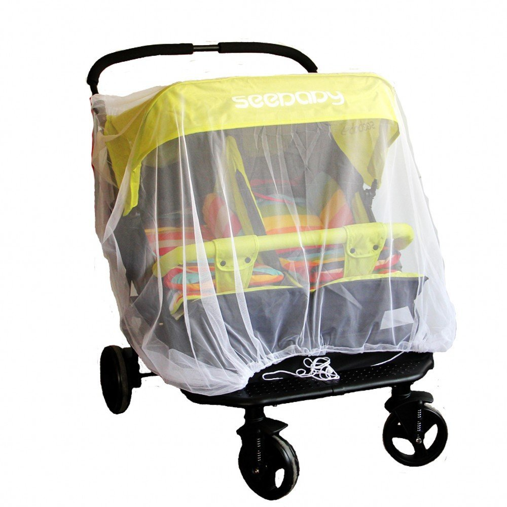 Off-White Mosquito Mesh Insect Net For Twin/Double Jogging/Tandem Strollers, Fits all standard double jogging strollers Identical International Co. Ltd. IT-BABY-WZ001