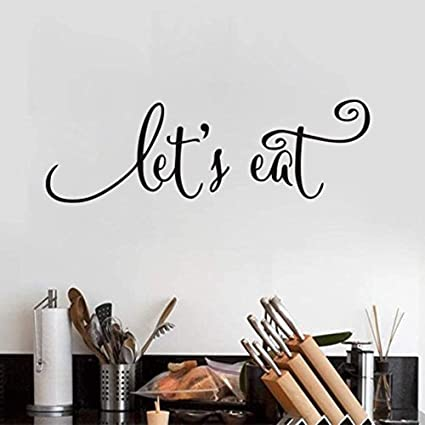 BUCKOO Let?s Eat Kitchen Quotes Wall Decal Dining Room Wall Art Stickers  DIY Home Decor Wall Decorations,Black