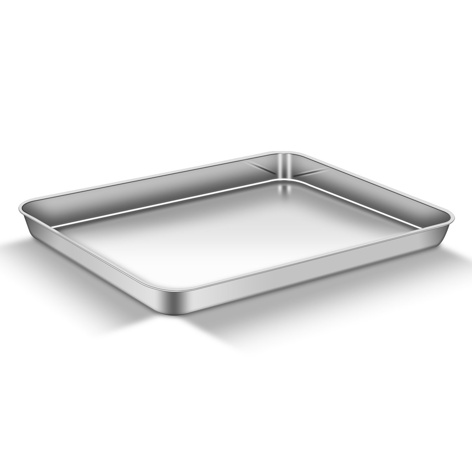 AEMIAO Baking Sheet (16'' x 12'' x1''), Stainless Steel 18/0 Bakeware Cookie Sheet Toaster Cake Pizza Oven Baking Pan Tray for Home Kitchen, Healthy Non Toxic, Mirror Finish Rust Free, Dishwasher Safe