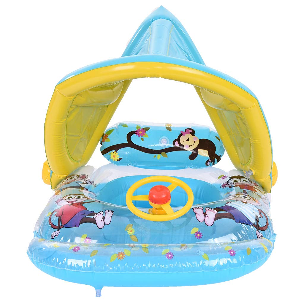 ReallyGO-US Direct Swimming Ring Inflatable Baby Float Sunshade Swimming Boat Seat with Sun Canopy Children Waist Float Ring Inflatable Floats Pool Toys Swimming Pool by ReallyGO-US Direct