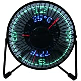 """USB LED Fan, 6"""" Portable Fan 360° Rotation with Clock and Temperature Display, Metal Design, Black"""