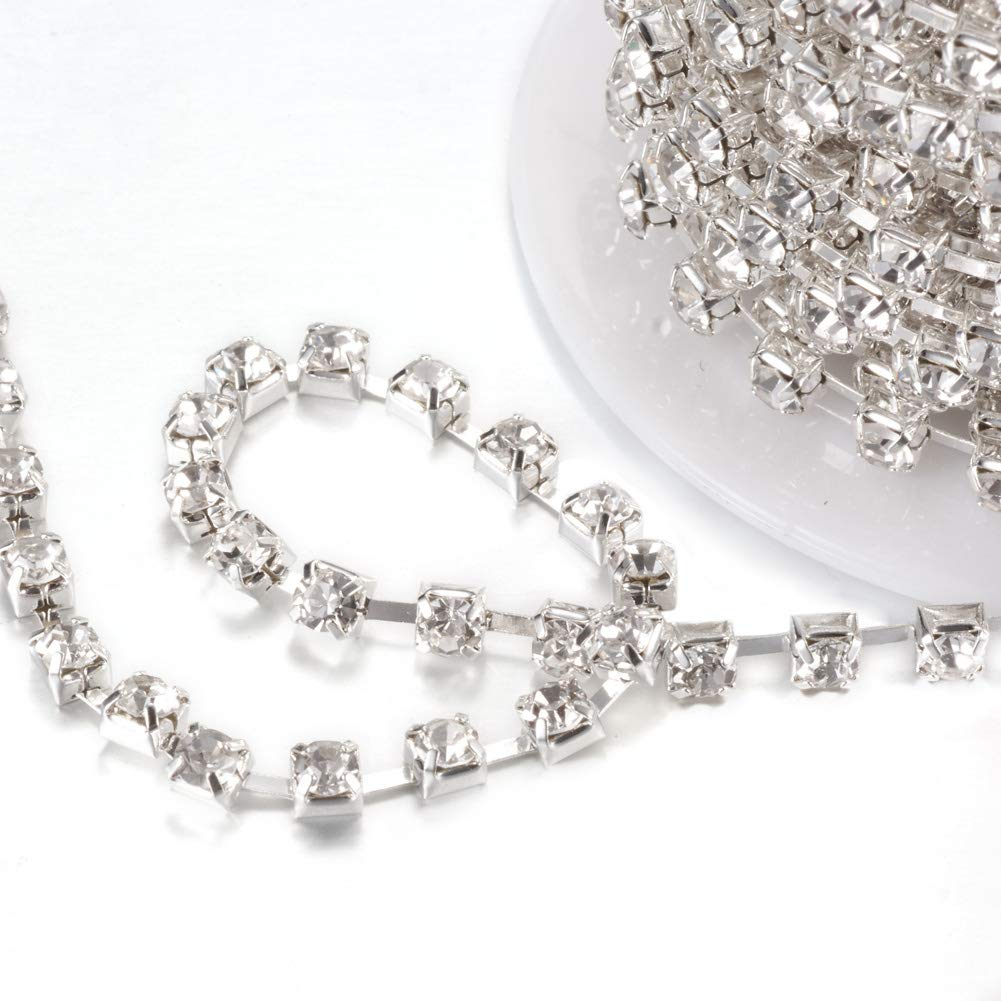 NBEADS 1 Roll 10 Yards 2mm Crystal Beads Chain Rhinestone Chain Trimming Crystal Beads String Roll DIY Arts Crafts Accessories